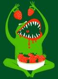 Monster. Strawbery monster eating, illustration royalty free illustration