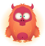 Monster. Cute Horned Monster. Cartoon Character royalty free illustration