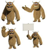 Monster. 3d cartoon cute brown monster Royalty Free Stock Image