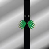 Monster. Cartoon illustration of a green monster forcing an elevator door open Royalty Free Stock Image