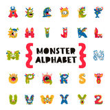 Monster Alphabet. Concept of the primer. Poster of Monster Alphabet. Vector illustration on white background. Fictional animals. The concept of the primer Royalty Free Stock Images