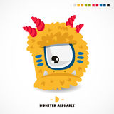 Monster alphabet. Letter D. Strange animal. Vector illustration on white background. Great children`s print. The concept of a kid`s toy Stock Photos