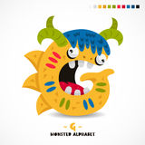 Monster alphabet. Letter G. Strange animal. Vector illustration on white background. Great children`s print. The concept of a kid`s toy Stock Photography