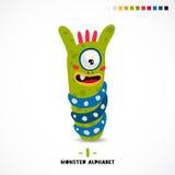 Monster alphabet. Letter I. A strange animal. Vector illustration on white background. Great children`s print. The concept of a kid`s toy Stock Image