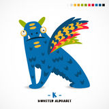 Monster alphabet. Letter K. Strange animal. Vector illustration on white background. Great children`s print. The concept of a kid`s toy Stock Photography