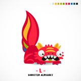 Monster alphabet. Letter L. A strange animal. Vector illustration on white background. Great children`s print. The concept of a kid`s toy Stock Photos