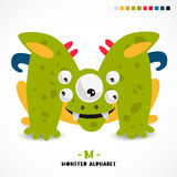Monster alphabet. Letter M. A strange animal. Vector illustration on white background. Great children`s print. The concept of a kid`s toy Stock Photography
