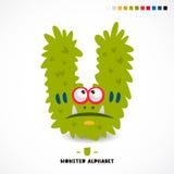 Monster alphabet. Letter U. Strange animal. Vector illustration on white background. Great children`s print. The concept of a kid`s toy Stock Photos