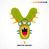 Monster alphabet. Letter Y. Strange animal. Vector illustration on white background. Great children`s print. The concept of a kid`s toy Stock Photos