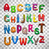Monster alphabet on transparent background. Monster alphabet, vector funny monster characters abc vector  on transparent background Stock Photography