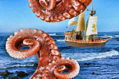 Monster Attack on Ship. Monster octopus attack on sailing ship Royalty Free Stock Image