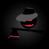 Monster with axe in blood on dark background. Halloween concept in flat style. Vector Stock Photography