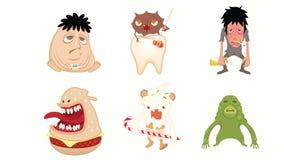 Monster, Bacteriën, Vreemdeling, Verslaafdenvector Stock Afbeeldingen