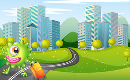 A monster with a bag walking at the road across the tall buildin. Illustration of a monster with a bag walking at the road across the tall buildings Stock Photos