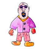 Monster bald man with glasses gangster cartoon. Monster watercolor bald man with glasses gangster cartoon Royalty Free Stock Photo