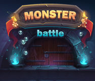 Monster battle GUI boot window. For web, video games, user interface, design Royalty Free Stock Photography