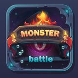 Monster battle GUI icon. Cartoon stylized vector illustration with text button, game name vector illustration