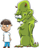 Monster Behind Boy Royalty Free Stock Images