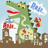 Monster. A big monster rampage in the main city, vector cartoon. EPS 10 Stock Photo