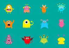 Monster big set. Cute cartoon scary character. Different emotion. Baby collection. Green background Isolated. Happy Halloween card Stock Photos