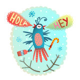 Monster Bird Chrismas New Year funny greeting card Stock Photo