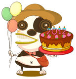 A monster and birthday cake. Illustration of a monster and a birthday cake on a white background stock illustration