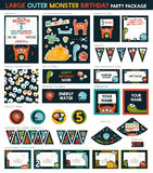 Monster Birthday Party. Large Outer monster Birthday Party Package Set. printable. Invitation Included - 14 Items stock illustration