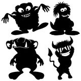 Monster black silhouettes. Royalty Free Stock Images