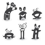 Monster black and white. Monster color icons, six variants stock photos