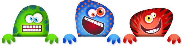 Monster Border. Three zany cartoon monster characters standing behind a blank page border Stock Image