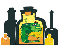 Monster in the bottle. Vector illustration of scary monster locked in the Bottle Stock Images