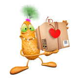 Monster with the box to the Valentine's day Stock Photos
