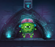 Monster with brains in Arch Magic in next 4th level. For web, video games, user interface, design Royalty Free Stock Photos