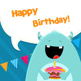 Monster With Cake Royalty Free Stock Images