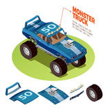 Monster Car 4wd Model Isometric Image royalty free illustration