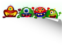 Monster cartoon with blank sign Royalty Free Stock Image