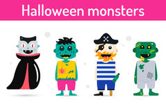 Monster cartoon characters isolated silhouette Royalty Free Stock Photography