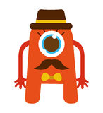 monster cartoon hipster style isolated icon design Stock Photos