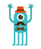 monster cartoon hipster style isolated icon design Royalty Free Stock Photos