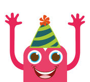 monster cartoon with party hat isolated icon design Stock Photography