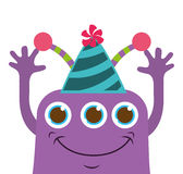 monster cartoon with party hat isolated icon design Royalty Free Stock Image