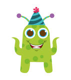 monster cartoon with party hat isolated icon design Stock Image