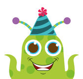 monster cartoon with party hat isolated icon design Stock Photos