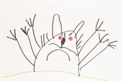 Monster cat - child's felt pen drawing Stock Photography