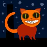 Monster cat on roof at night Stock Images