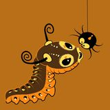 Monster-caterpillar with spider. Vector cartoon cute monster caterpillar with spider Royalty Free Stock Images
