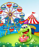A monster celebrating a birthday at the hilltop with a carnival. Illustration of a monster celebrating a birthday at the hilltop with a carnival Stock Photos