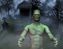 Monster in a cemetery. 3D rendering monster in a graveyard vector illustration