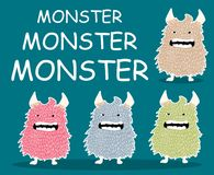 Monster character cartoon set. Color Royalty Free Stock Images
