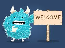 Monster character cartoon wood plate welcome vector Royalty Free Stock Image